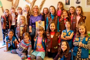 Girl Scout Troops 44098 and 45370 with author Lois Brandt
